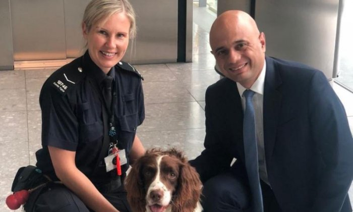Crystal meth found at Home Office headquarters on same day Sajid Javid poses with sniffer dog