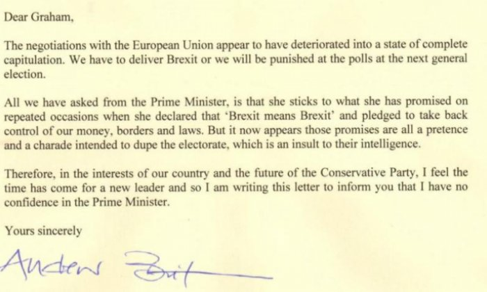 Andrew Bridgen MP submits letter declaring no confidence in Theresa May