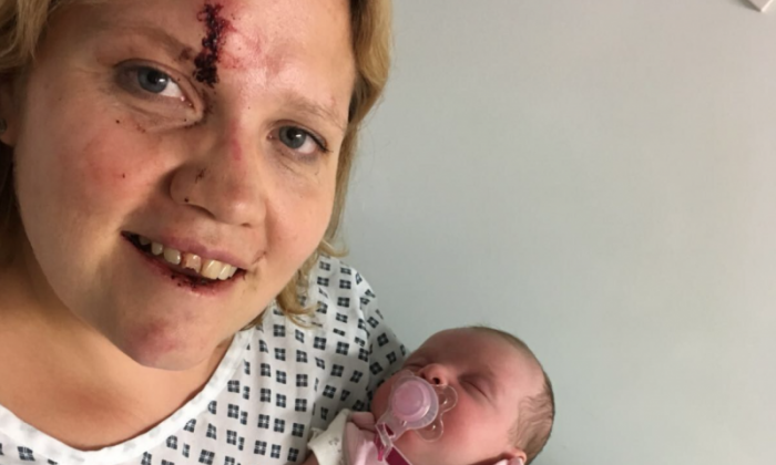 Ms O'Neill was injured when thieves stole her Audi in Birmingham with four-week-old Eliza inside (picture West Midlands Police)