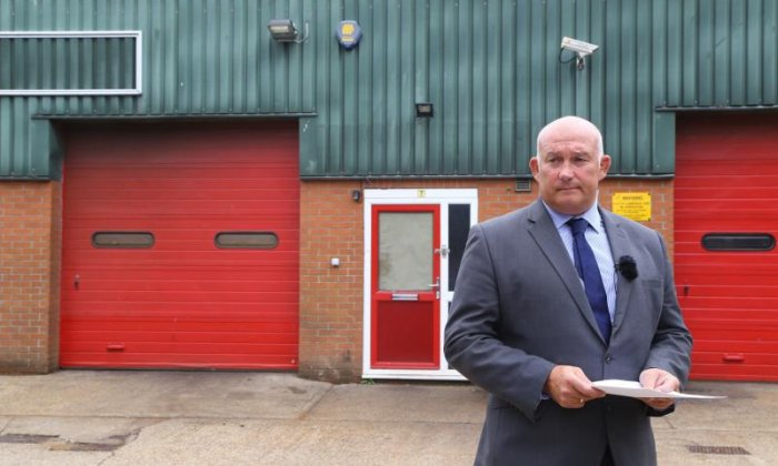 National Crime Agency spokesperson outside the factory