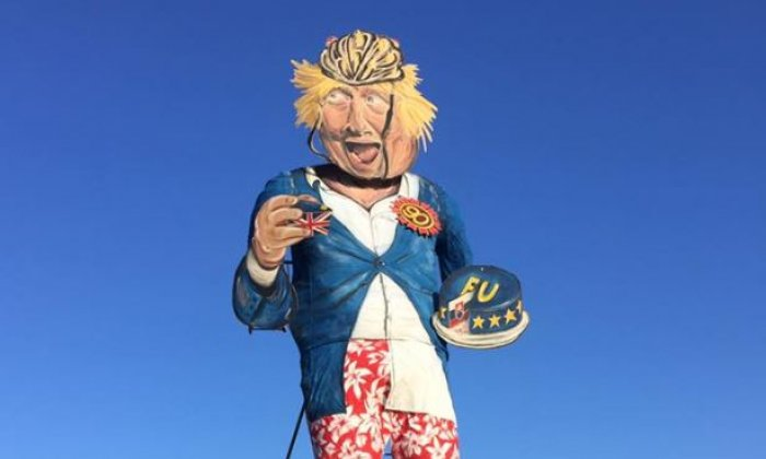 Boris Johnson effigy with Brexit bus shoes is Kent bonfire society's bonfire guy