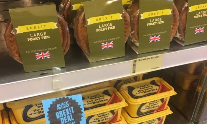 Anti-Brexit campaigners set up shop selling 'conman's mustard' and 'save our bacon' to call for a People's Vote
