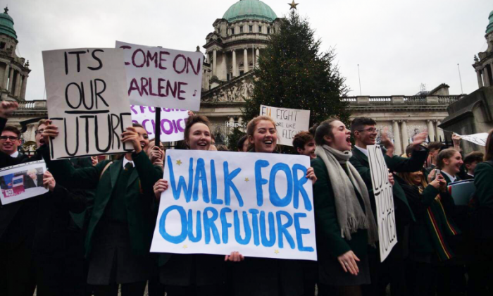 Pupils from Northern Ireland schools walkout over in call for second EU vote
