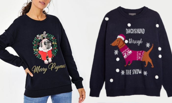 Vets urge retailers to stop using unhealthy dog breeds such as pugs on Christmas jumpers
