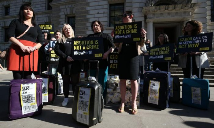 Northern Ireland abortion protesters gather outside Parliament
