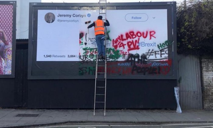 Council denies covering up billboard targeting Jeremy Corbyn