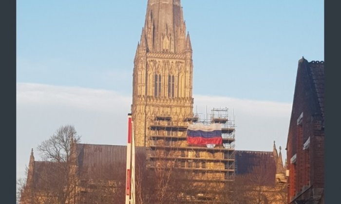 Russian flag spotted on cathedral in Novichok attack United Kingdom  city
