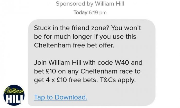 William Hill advert banned from Tinder