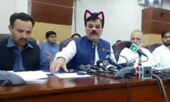 Accidental cat filter derails political press conference