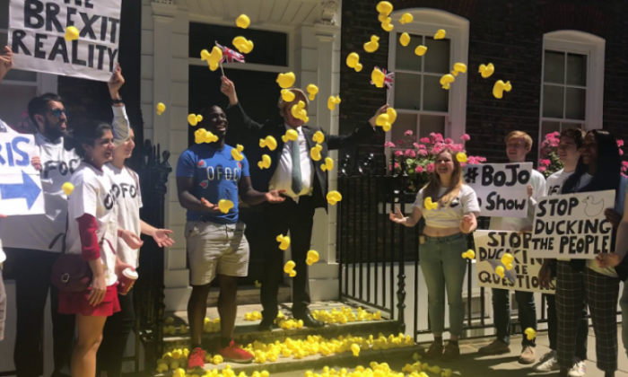 Anti-Brexit activists flood outside 'Back Boris HQ' with 2000 ducks