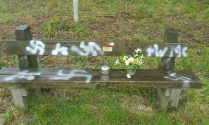 Police probe launched after swastikas drawn on commemorative bench