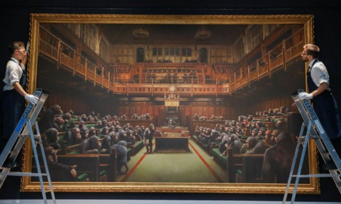 Banksy artwork depicting MPs as chimpanzees sold for record amount