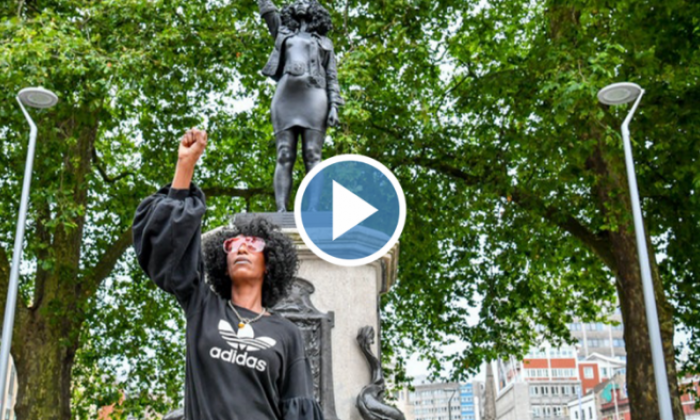 Statue of slave trader replaced by sculpture of Black Lives Matter activist