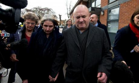 The parents of Elliott Johnson depart Bedfordshire & Luton Coroner court in March 2016. Elliott Johnson took his own life in September 2015 after allegedly senior members of the Conservative Party failed to act on complaints of bullying and blackmail by Mark Clarke.