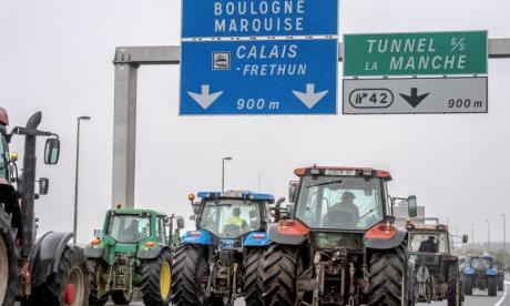 Tractors fill the road