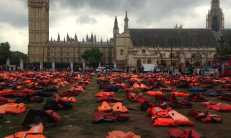 Lifejackets were placed at Parliament Square