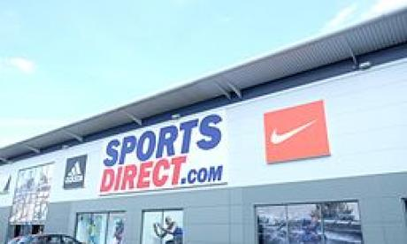 The front of a Sports Direct warehouse
