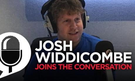 Josh Widdicombe completes a special task set by Jon Holmes' team