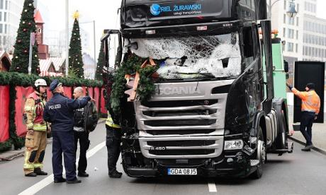 The truck is seen in the aftermath of last night's attack