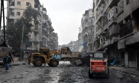 The city of Aleppo in northern Syria is seen in ruins after recent bombardment