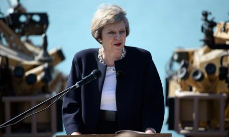 Theresa May is seen here giving a speech in Bahrain this week
