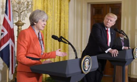 'theresa may tried to bully Donald Trump about Nato and Russia during their press conference', says George Galloway