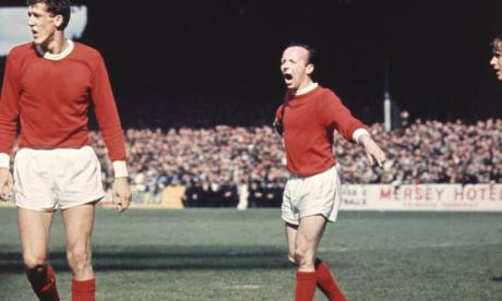 Nobby Stiles seen playing for Manchester United in the 1960s