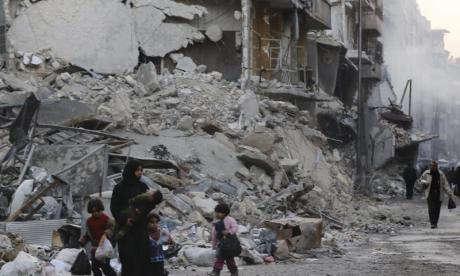Huge areas have been left decimated by the Syria civil war