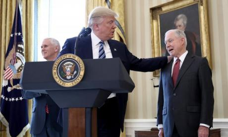 Donald Trump backs Jeff Sessions as controversy over Russia connection grows