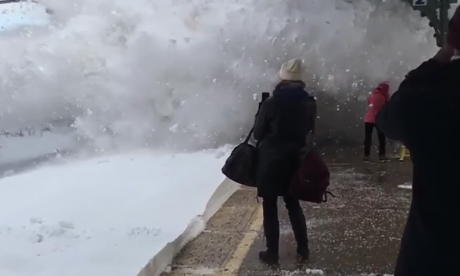 Amtrak train ruins passengers' morning by spraying them with snow in New York
