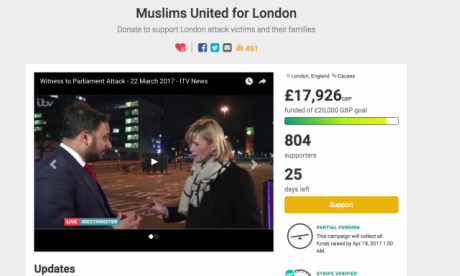 Charity page set up by British Muslim for Westminster attack victims' families raises almost £18,000 in two days