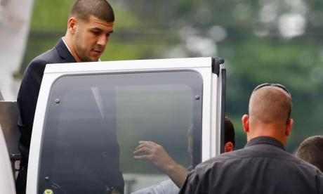 Aaron Hernandez seen during his trial in August 2013