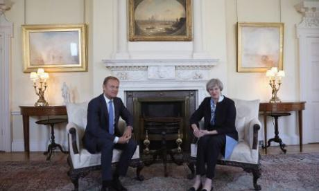 Donald Tusk seen with Theresa May at Downing Street