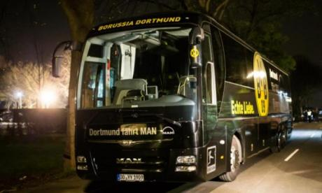 Dortmund's bus was hit by a series of explosive devices, shattering the glass of the windows