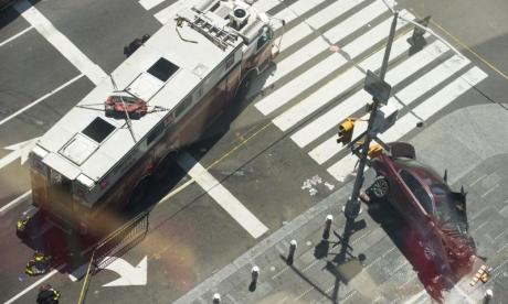 The car crashed in the centre of New York