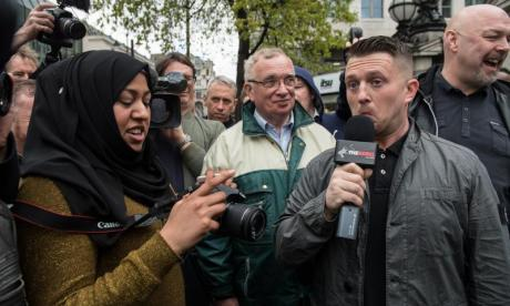 Tommy Robinson seen recently filming for his new venture, The Rebel Media