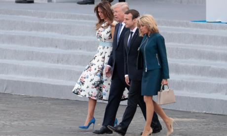 Donald Trump tells Emmanuel Macron's wife: 'You're in such great shape'