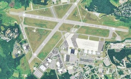 Hanscom Air Base, seen here in an aerial photo, was evacuated this afternoon