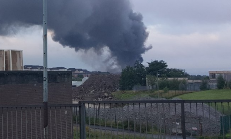 Authorities battling massive warehouse fire in Glasgow