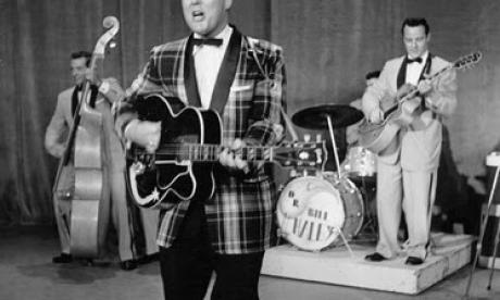 Bill Haley seen performing with his band in the mid '50s
