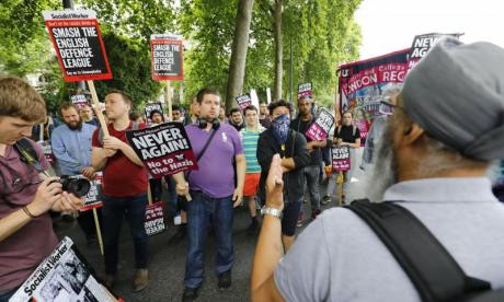 The EDL march has been mocked by anti-fascist protesters