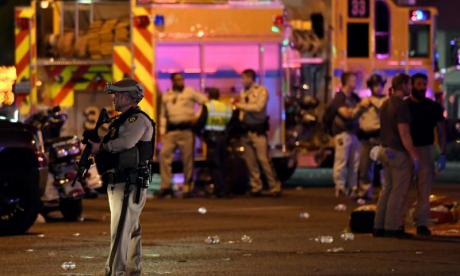 Las Vegas: Man shot whilst helping victims reunited with police officer who saved him