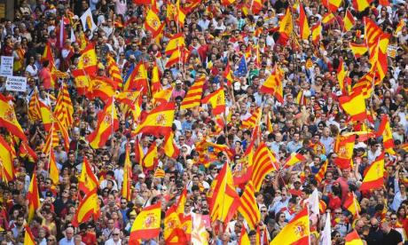 Many took part in a unity march in Barcelona