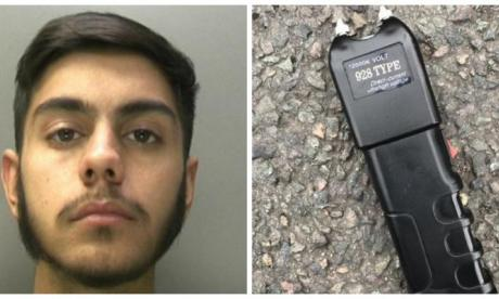 Mohammed Subhan, and the stun gun he was found with (police handout)