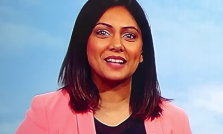 BBC weather presenter gets the giggles after title mishap calls her an 'ex-offender'