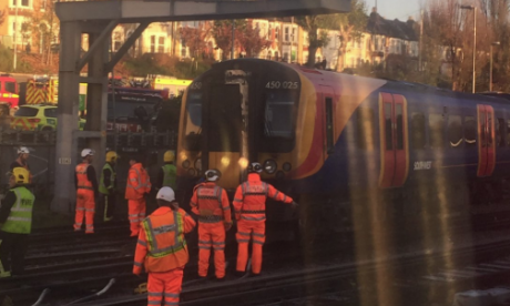 Partial derailment causing disruption on services to London Waterloo station during rush hour