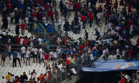 Russia fans, seen here rioting during last year's Euro 2016 match against English, disgraced themselves again last night