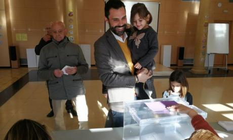 Roger Torrent, seen here voting in the recent Catalan elections with his daughter, has been elected to a key role in the Catalan Parliament