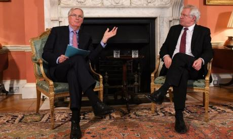 Sir Bill Cash has said Brexit minister David Davis, seen here meeting EU negotiator Michel Barnier, and the rest of the government must be robust in its approach to Brexit
