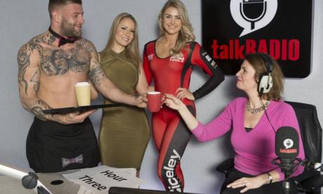 Julia Hartley-Brewer invites grid girls and butler to work on her show